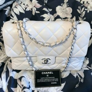 CHANEL quilted single flap medium white classic cc